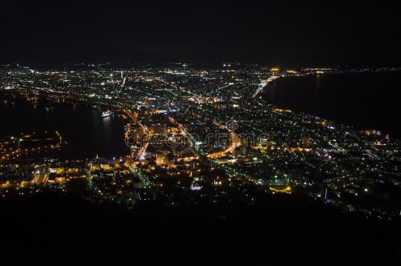 Nachtmening in de Stad van Hakodate stock afbeelding
