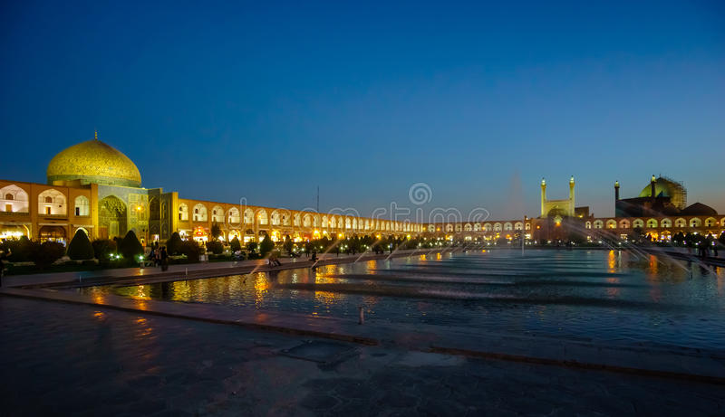 Nachtmening over het Vierkant van naqsh-E Jahan in Isphahan, Iran royalty-vrije stock fotografie