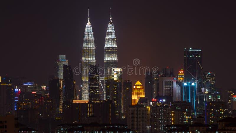 Nachtmening over Kuala Lumpur van de binnenstad royalty-vrije stock afbeelding