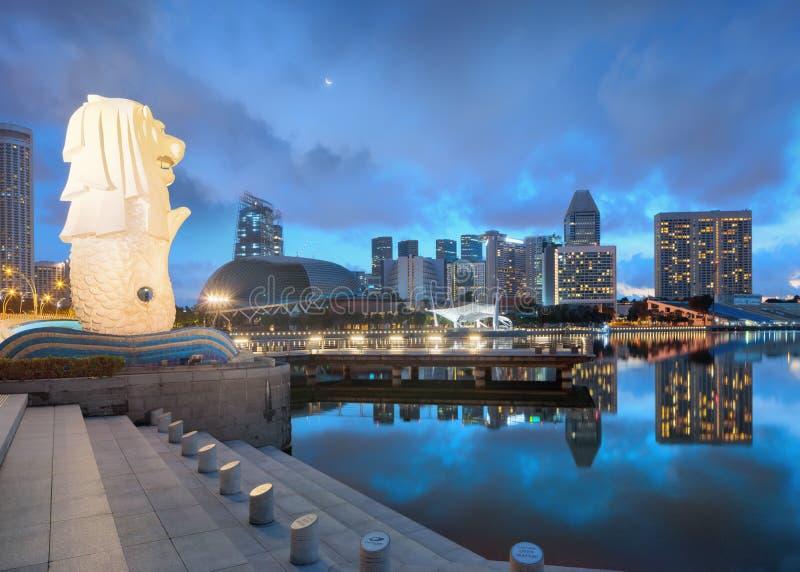 Nachtmening van centraal Singapore royalty-vrije stock fotografie