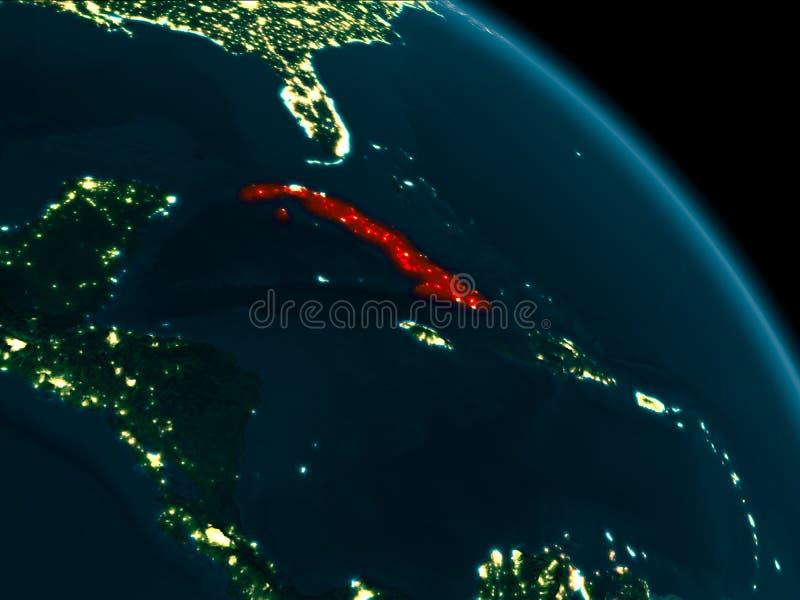 Nachtmening van Cuba ter wereld royalty-vrije illustratie