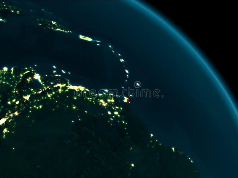 Nachtmening van de Caraïben ter wereld royalty-vrije stock afbeeldingen