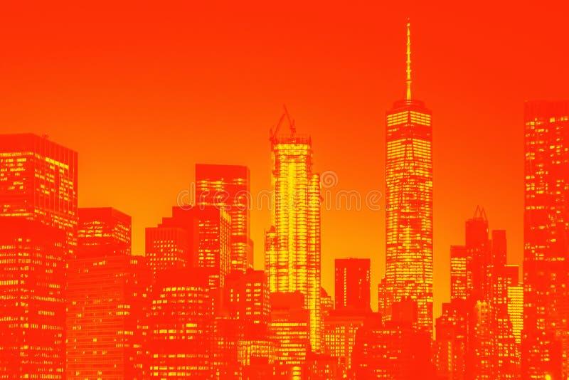 Nachtmening van de lagere horizon van Manhattan vector illustratie