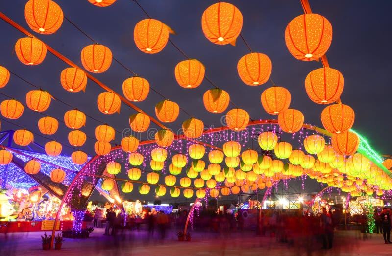 Nachtmening van de Lantaarnfestival van Taiwan stock foto