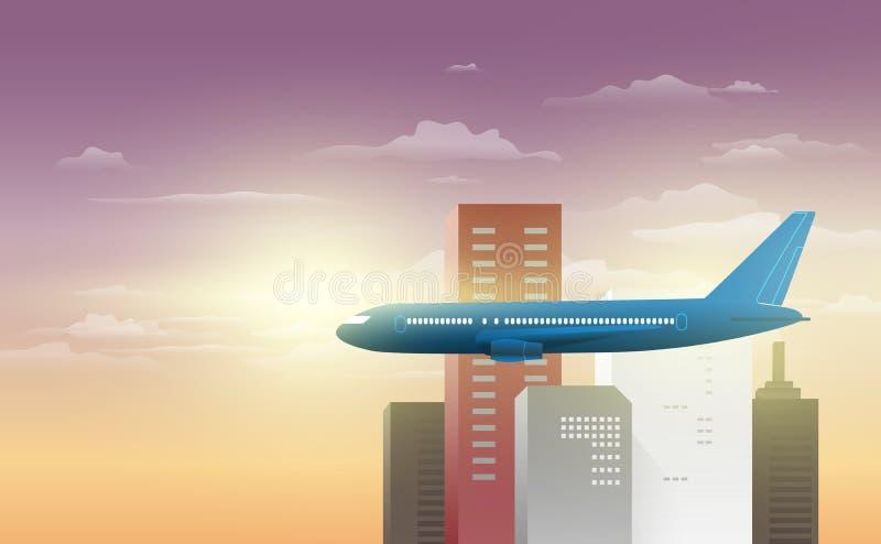 Nachtmening van de luchthaven Passagiersvliegtuigen op de achtergrond van de nachtstad royalty-vrije illustratie