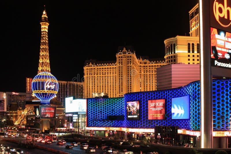 Nachtmening van de stad van Las Vegas royalty-vrije stock afbeelding