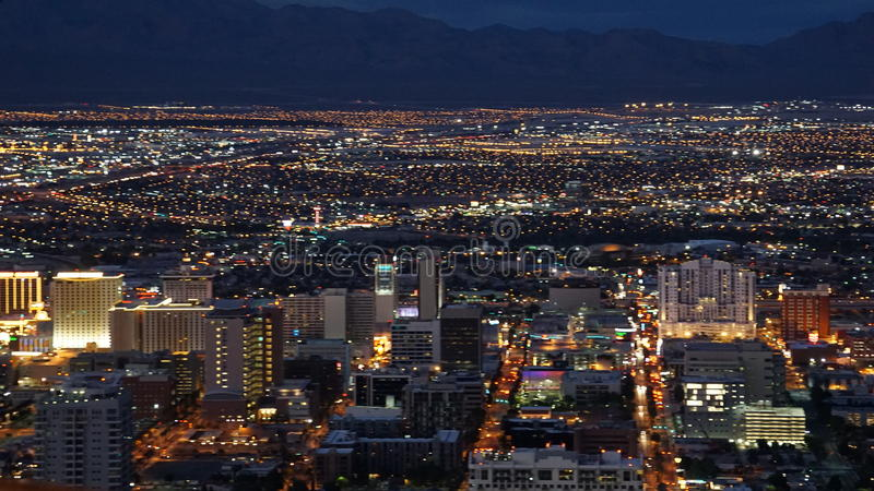 Nachtmening van de Stratosfeertoren in Las Vegas, Nevada royalty-vrije stock fotografie