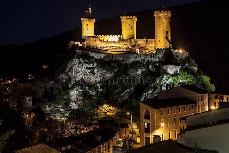 Nachtmening van Foix stock afbeelding