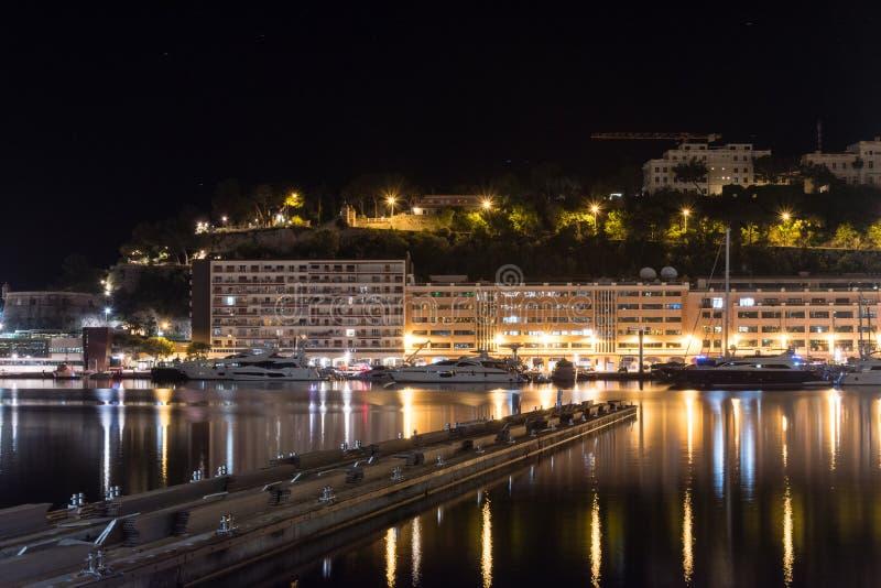Nachtmening van Haven Hercules in Monaco royalty-vrije stock foto's