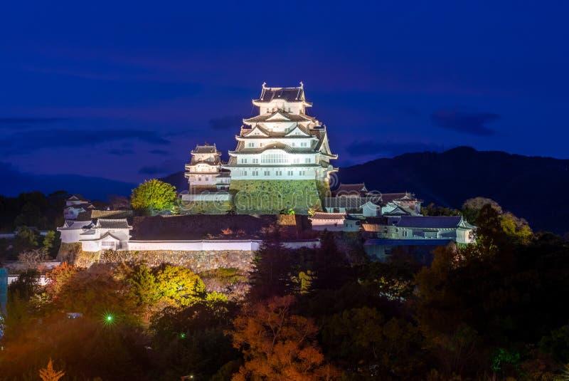 Nachtmening van het kasteel van Himeji in hyogo, Japan stock fotografie
