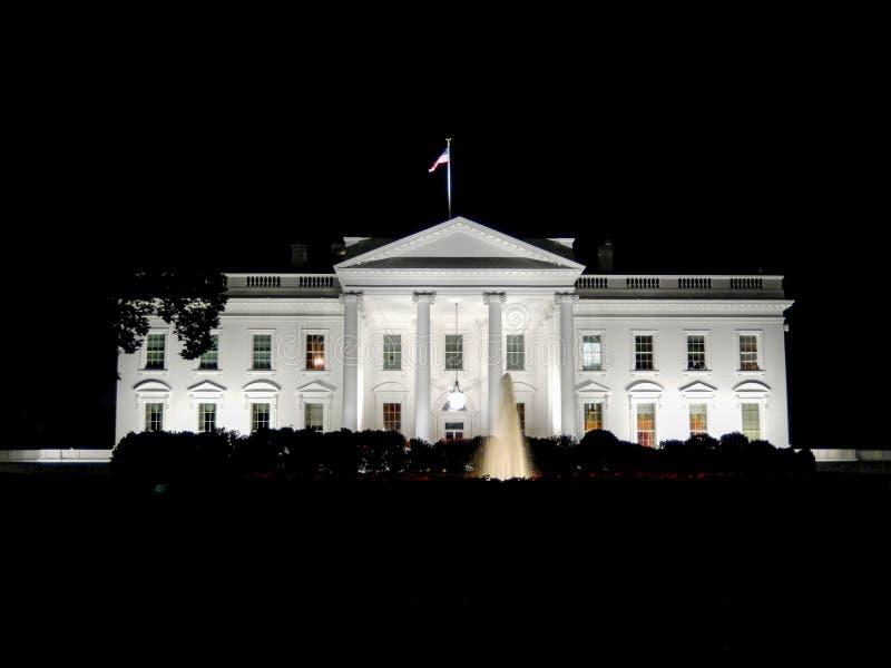 Nachtmening van het Witte Huis stock afbeelding