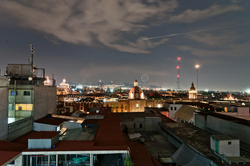 Nachtmening van horizon in Mexico-City royalty-vrije stock fotografie