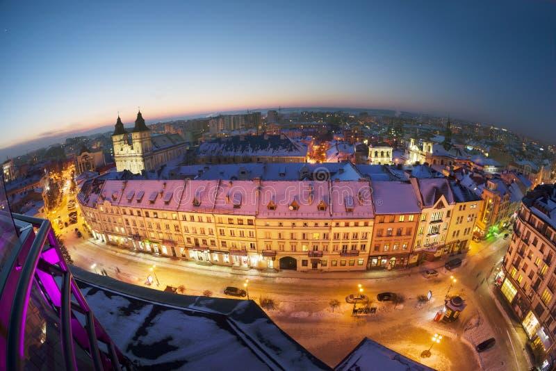 Nachtmening van ivano-Frankivsk royalty-vrije stock foto