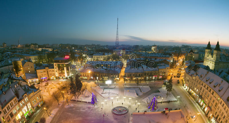 Nachtmening van ivano-Frankivsk royalty-vrije stock foto's