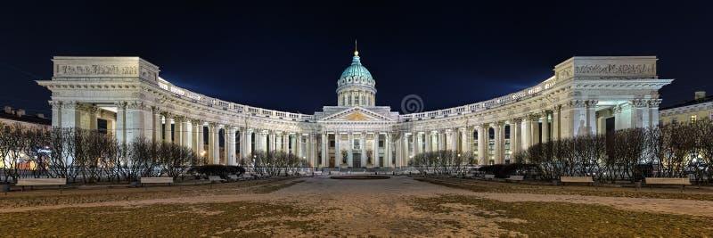 Nachtmening van Kazan Kathedraal in Heilige Petersburg, Rusland stock afbeeldingen