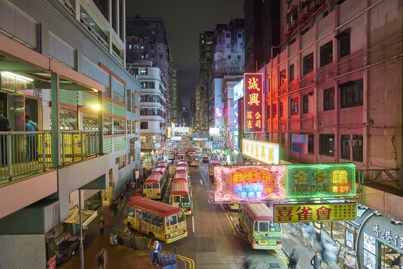 Nachtmening van Mongkok, Hongkong stock afbeelding