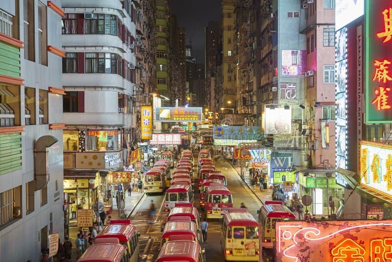 Nachtmening van Mongkok, Hongkong royalty-vrije stock afbeeldingen