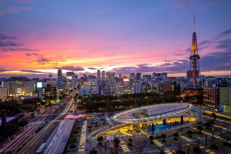 Nachtmening van Nagoya met de toren van Nagoya in Japan stock afbeelding