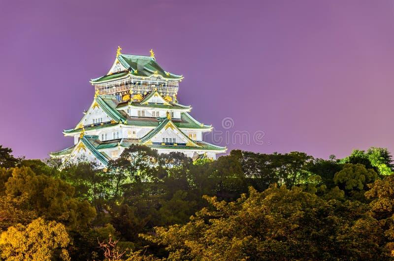 Nachtmening van Osaka Castle in Japan stock fotografie