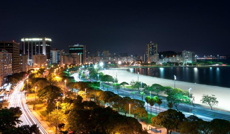 Nachtmening van Rio de Janeiro stock foto