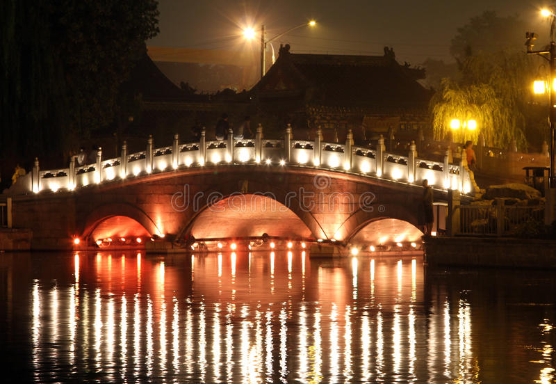 Nachtmening van Shichahai-park in Peking, China royalty-vrije stock fotografie
