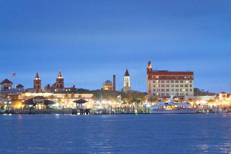 Nachtmening van St Augustine horizon, Florida stock foto's