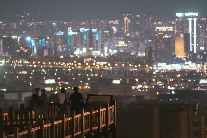 Nachtmening van Taichung-stad royalty-vrije stock afbeeldingen