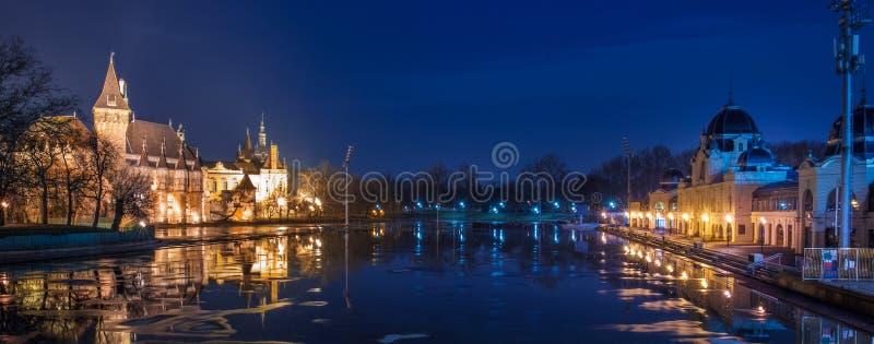 Nachtmening van Vajdahunyad-kasteel met Ijsbaan, Boedapest stock fotografie