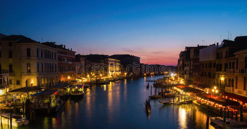 Nachtmening van Venetië stock foto's
