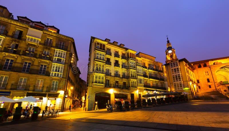 Nachtmening van Virgen Blanca Square royalty-vrije stock afbeelding