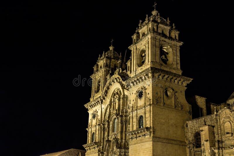 Nachtmeningen rond Cusco-Stadscentrum, Peru royalty-vrije stock afbeelding