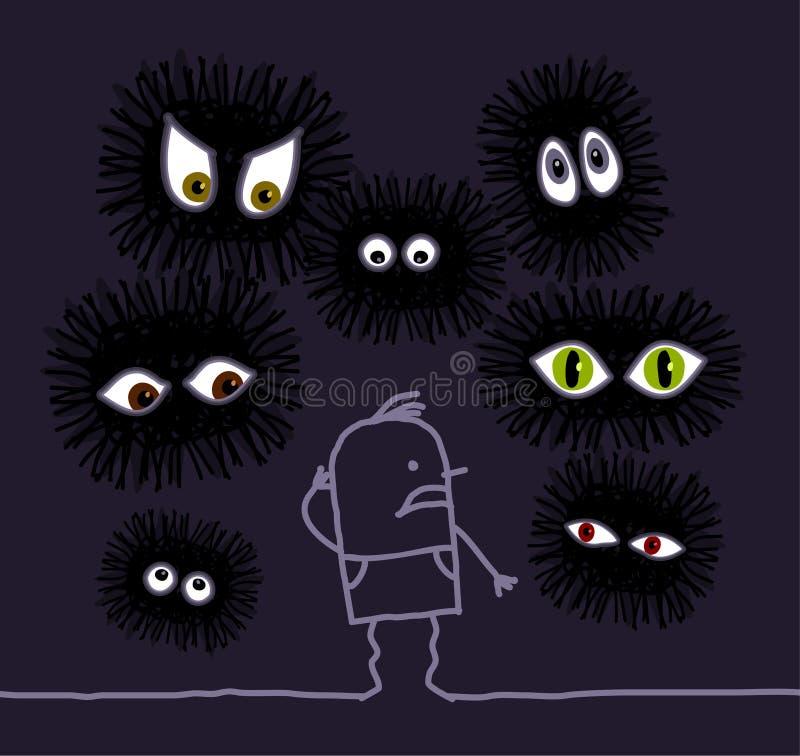 Nachtmerrie & grote ogen stock illustratie