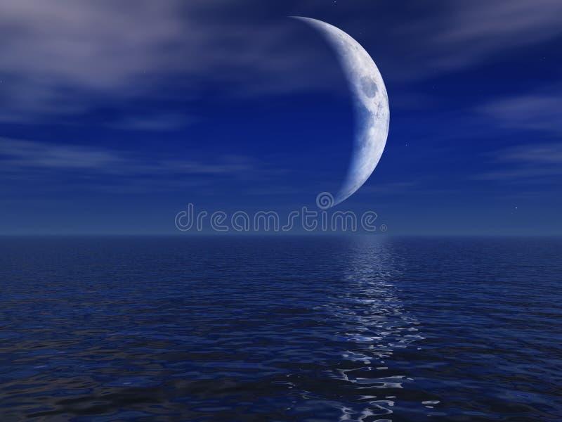 Nachtmond über Meer lizenzfreie abbildung