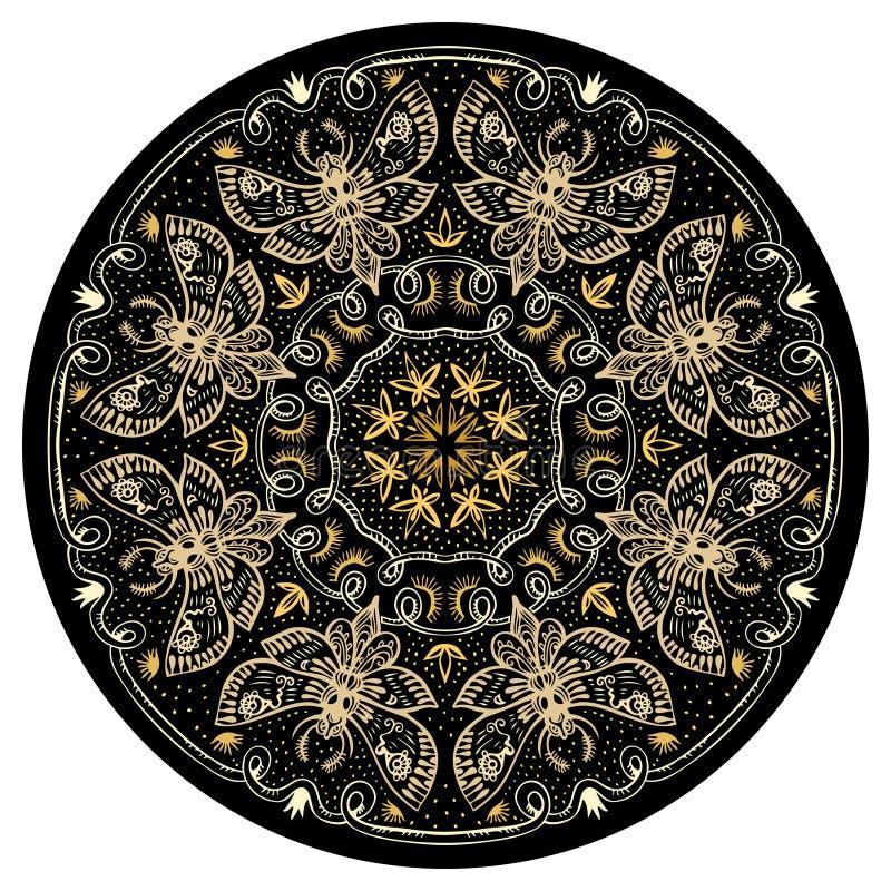 Nachtmotten Gouden Mandala royalty-vrije illustratie