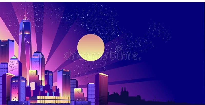 Nachtneon-Stadt lizenzfreie abbildung