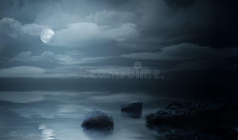 Nachtoverzees stock illustratie