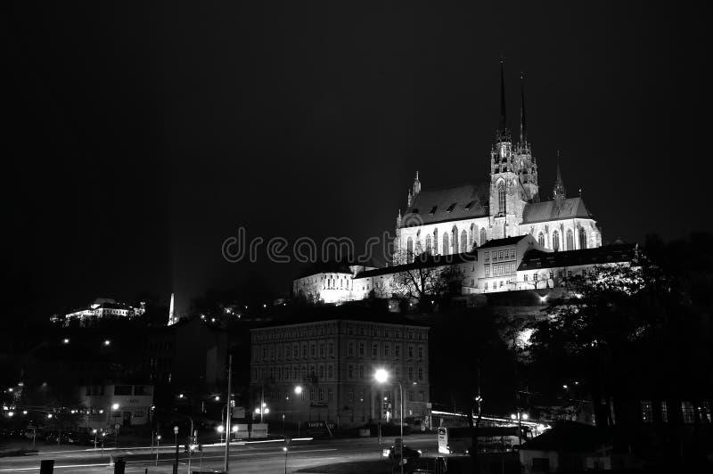 Nachtpanorama van Brno met kathedraal, Tsjechische Republiek stock fotografie