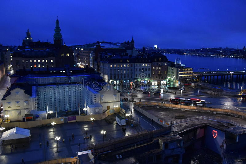 Nachtpanorama van Stockholm, Zweden stock foto's