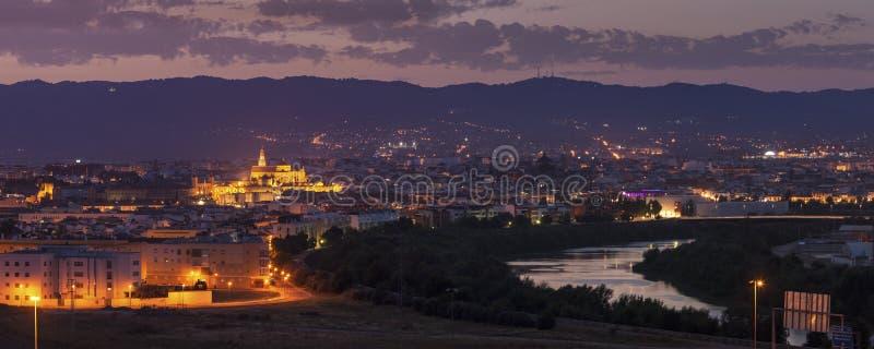 Nachtpanorama von Cordoba mit Moscheen-Kathedrale lizenzfreie stockfotos