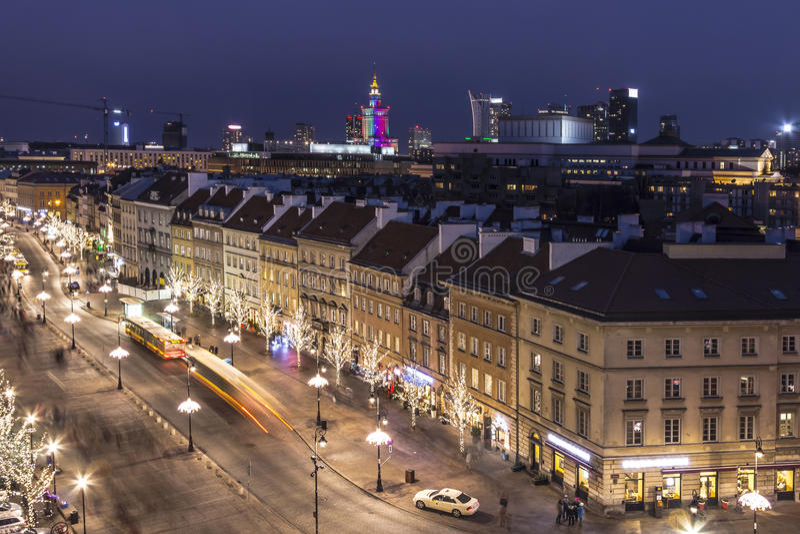 Nachtpanorama, Warshau, Polen royalty-vrije stock fotografie