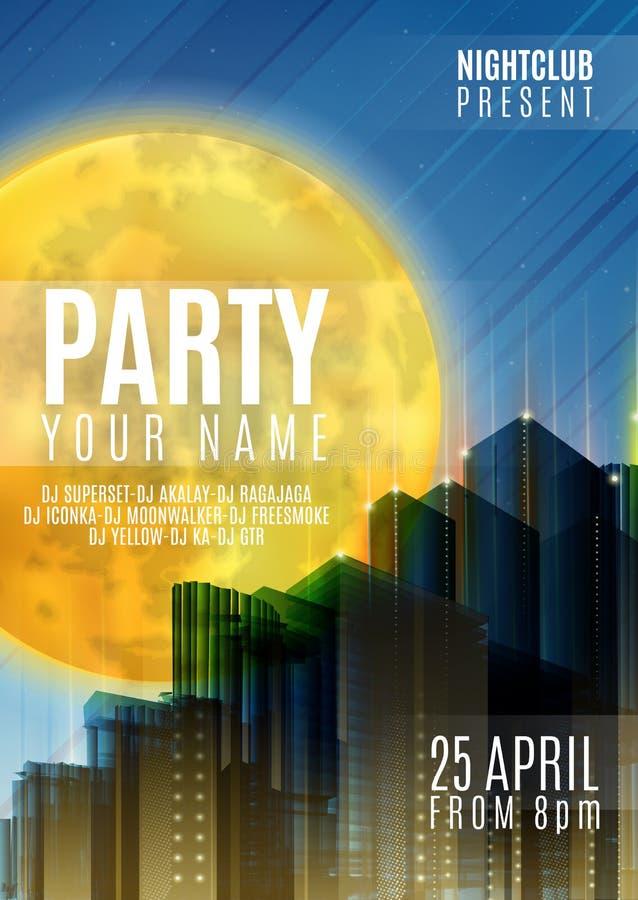 Nachtpartei - Flieger-oder Abdeckungs-Design Hintergrund mit Vollmond und Nacht vector städtische abstrakte Illustration vektor abbildung