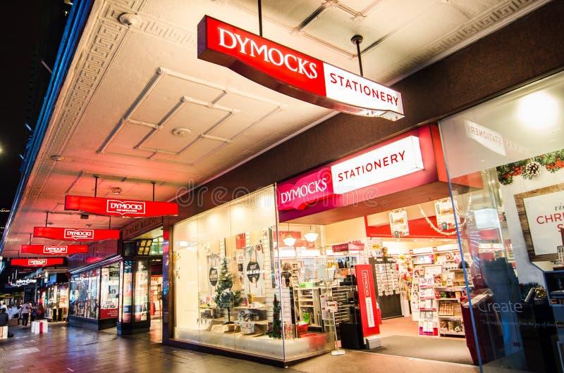 Nachtphotographie von Buch und von Schreibwarengeschäft Dymocks bei George Street, Sydney im Stadtzentrum gelegen lizenzfreie stockfotos