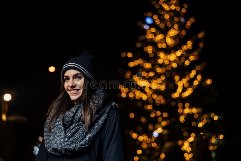 Nachtporträt einer schönen brunette Frau, die Winter im Park genießend lächelt Winter-Freude Der Junge gelegt auf den Schnee Posi lizenzfreie stockfotografie