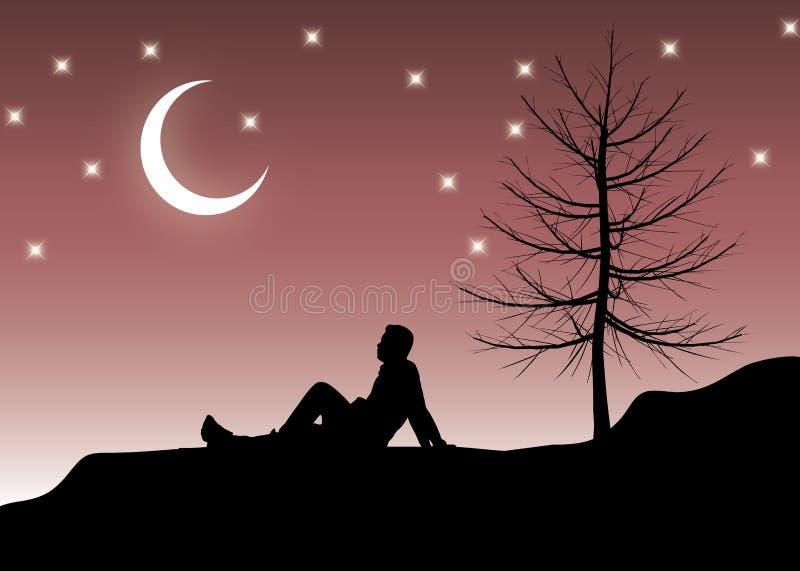 Nachts alleine sitzen vektor abbildung