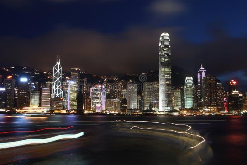 Nachtscène in Hong Kong royalty-vrije stock foto's