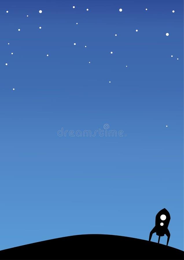 Nachtscène met raket, exemplaarruimte royalty-vrije illustratie