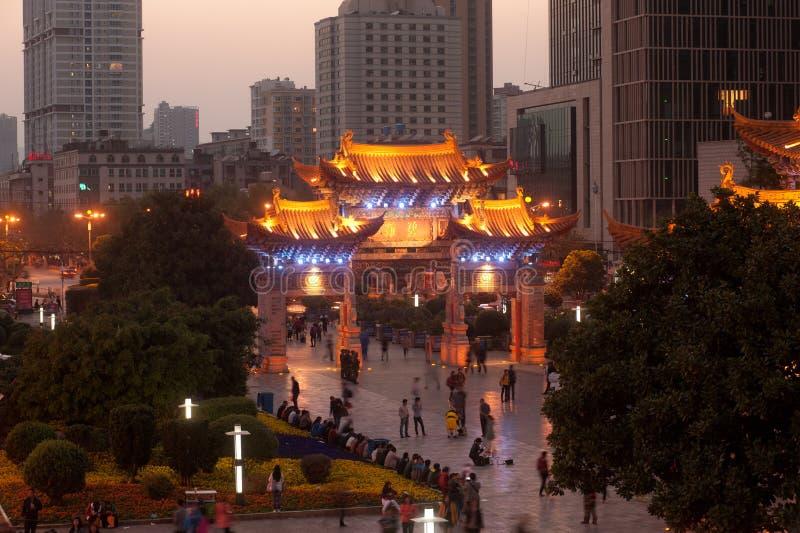 Nachtscène van de Historische plaats van Jinma Biji stock fotografie