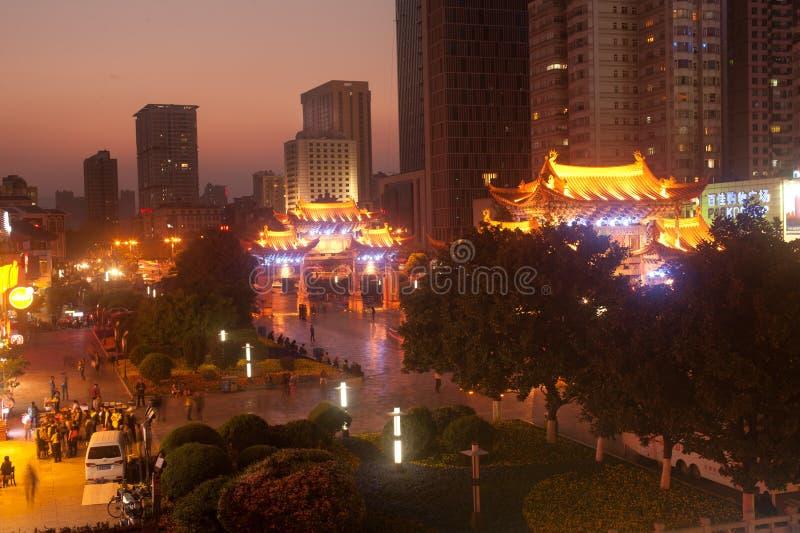 Nachtscène van de Historische plaats van Jinma Biji stock afbeeldingen
