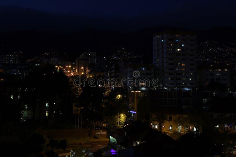 Nachtscène van het Eiland Madera, Portugal stock foto