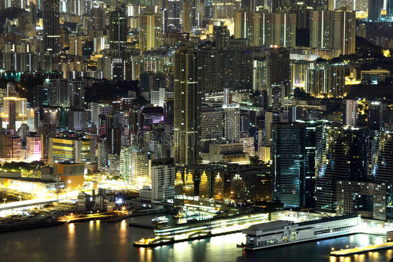 Nachtscène van Kowloon stock foto